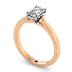HRE406  Four Claw Emerald cut Solitaire Diamond Ring - rose