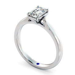 HRE406  Four Claw Emerald cut Solitaire Diamond Ring - white