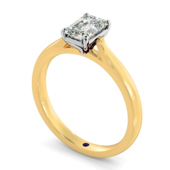 HRE406  Four Claw Emerald cut Solitaire Diamond Ring - yellow