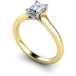HRE409 Crossover Setting  Emerald cut Solitaire Diamond Ring - yellow