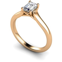 HRE409 Crossover Setting  Emerald cut Solitaire Diamond Ring - rose