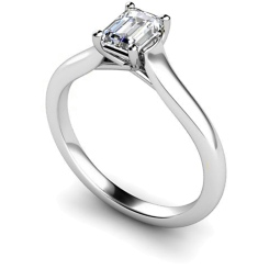 HRE409 Crossover Setting  Emerald cut Solitaire Diamond Ring - white