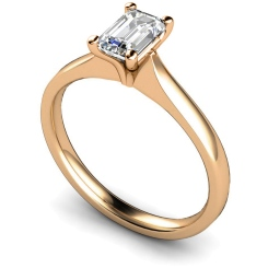 HRE416 Four Claw Emerald cut Solitaire Diamond Ring - rose