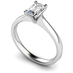 HRE416 Four Claw Emerald cut Solitaire Diamond Ring - white