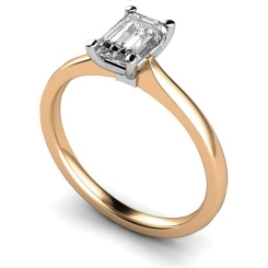 HRE422 Four Claw Emerald cut Solitaire Diamond Ring - rose