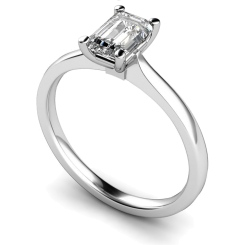 HRE422 Four Claw Emerald cut Solitaire Diamond Ring - white