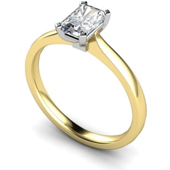 HRE484 Four Flat Claw Emerald cut Solitaire Diamond Ring - yellow
