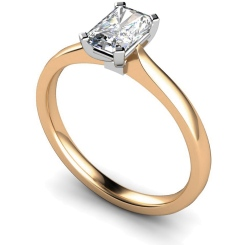 HRE484 Four Flat Claw Emerald cut Solitaire Diamond Ring - rose