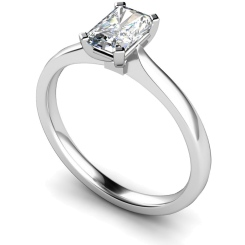 HRE484 Four Flat Claw Emerald cut Solitaire Diamond Ring - white