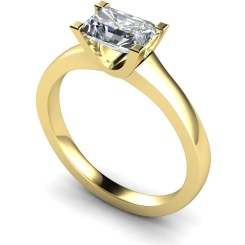 HRE524 Emerald Solitaire Diamond Ring - yellow