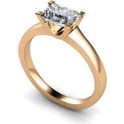HRE524 Emerald Solitaire Diamond Ring - rose