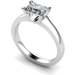 HRE524 Emerald Solitaire Diamond Ring - white