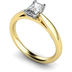 HRE563  Low Setting Emerald cut Solitaire Diamond Ring - yellow