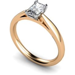 HRE563  Low Setting Emerald cut Solitaire Diamond Ring - rose