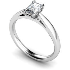 HRE563  Low Setting Emerald cut Solitaire Diamond Ring - white