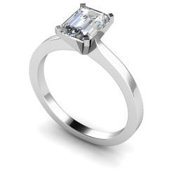 HRE597 Emerald Solitaire Diamond Ring - white