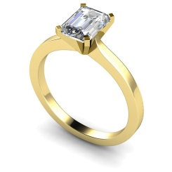 HRE597 Emerald Solitaire Diamond Ring - yellow