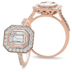HRECL920 Octa Shaped Emerald cut Diamond Halo Cluster Ring - rose
