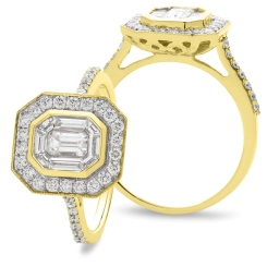 HRECL920 Octa Shaped Emerald cut Diamond Halo Cluster Ring - yellow