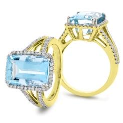 HREGAQ1119 Emerald Shape Aquamarine & Diamond Halo Ring - yellow