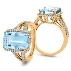 HREGAQ1119 Emerald Shape Aquamarine & Diamond Halo Ring - rose