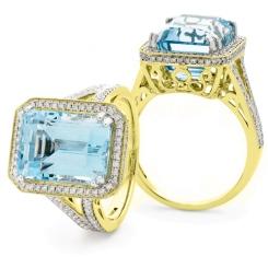 HREGAQ1120 Designer Shank Aquamarine & Diamond Halo Ring - yellow