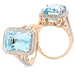 HREGAQ1120 Designer Shank Aquamarine & Diamond Halo Ring - rose