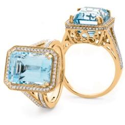 HREGAQ1120 Designer Shank Aquamarine & Diamond Halo Ring - rose