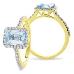 HREGAQ1125 Emerald Shape Aquamarine & Diamond Shoulder Halo Ring - yellow