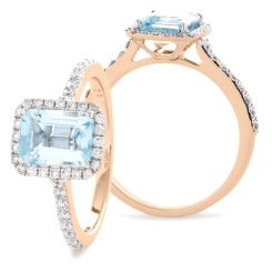 HREGAQ1125 Emerald Shape Aquamarine & Diamond Shoulder Halo Ring - rose