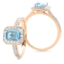 HREGAQ1126 Emerald cut Aquamarine & Diamond Halo Ring - rose