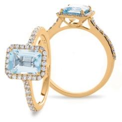 HREGAQ1125 Emerald Shape Aquamarine & Diamond Shoulder Halo Ring - rose