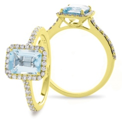 HREGAQ1125 Emerald Shape Aquamarine & Diamond Shoulder Halo Ring - yellow