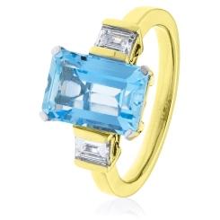 HREGAQ1128 Three Stone Aquamarine & Diamond Ring - yellow