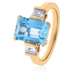 HREGAQ1128 Three Stone Aquamarine & Diamond Ring - rose