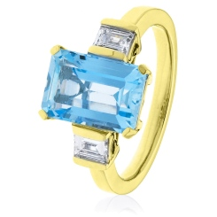HREGAQ1128 Three Stone Aquamarine & Diamond Ring - yellow