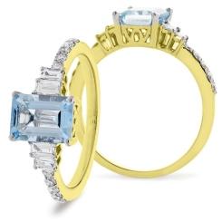 HREGAQ1129 Multistone Aquamarine & Diamond Shoulder Ring - yellow