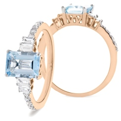 HREGAQ1129 Multistone Aquamarine & Diamond Shoulder Ring - rose