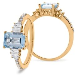 HREGAQ1129 Multistone Aquamarine & Diamond Shoulder Ring - rose