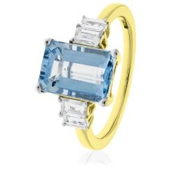 HREGAQ1130 Multistone Emerald Aquamarine & Diamond Ring - yellow