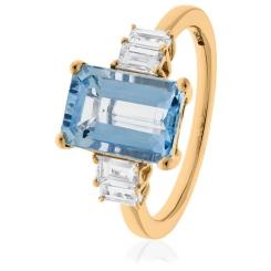 HREGAQ1130 Multistone Emerald Aquamarine & Diamond Ring - rose