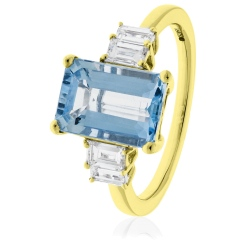 HREGAQ1130 Multistone Emerald Aquamarine & Diamond Ring - yellow