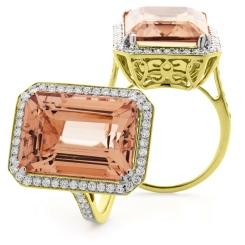 HREGMG1138 Designer Emerald Shape Morganite & Diamond Single Halo Ring - yellow