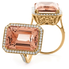 HREGMG1138 Designer Emerald Shape Morganite & Diamond Single Halo Ring - rose