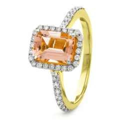 HREGMG1142 Emerald Shape Morganite & Diamond Single Halo Ring - yellow