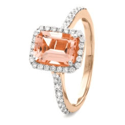 HREGMG1142 Emerald Shape Morganite & Diamond Single Halo Ring - rose