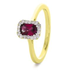 HREGRY1059 Emerald Shaped Ruby Halo Gemstone Ring - yellow