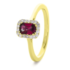 HREGRY1059 Emerald Shaped Ruby Halo Gemstone Ring - yellow