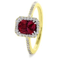 HREGRY1061 Ruby & Diamond Shoulder Halo Gemstone Ring - yellow