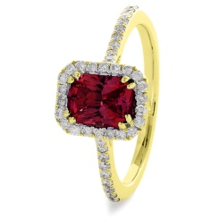 HREGRY1061 Ruby & Diamond Shoulder Halo Gemstone Ring - yellow